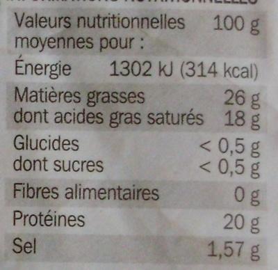 Mystère du prieuré - fromage à pate pressée non cuite 25% Mat. Gr. - Voedingswaarden - fr