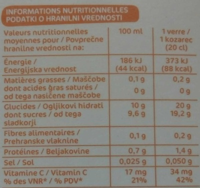 Pur jus Orange Mangue - Nutrition facts - fr