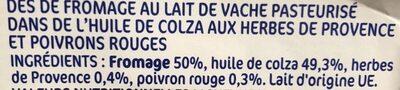 Dés de fromage au lait de vache pasteurisé dans l'huile 29% Mat. Gr. - Ingredienti
