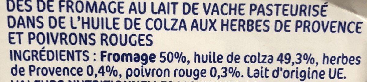 Dés de fromage au lait de vache pasteurisé dans l'huile 29% Mat. Gr. - Ingredienti - fr