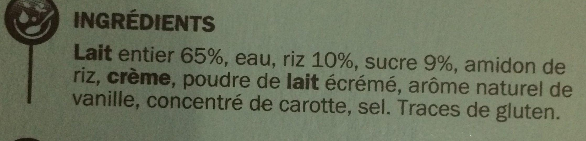 Riz au lait saveur vanille - Ingredients - fr