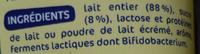 Lait fermenté au bifidus saveur citron acti-fidus - Ingrédients