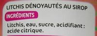 Lychees entiers denoyautés au sirop - Ingrédients - fr