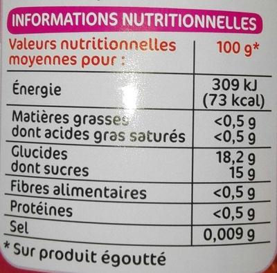Lychees entiers denoyautés au sirop - Informations nutritionnelles - fr