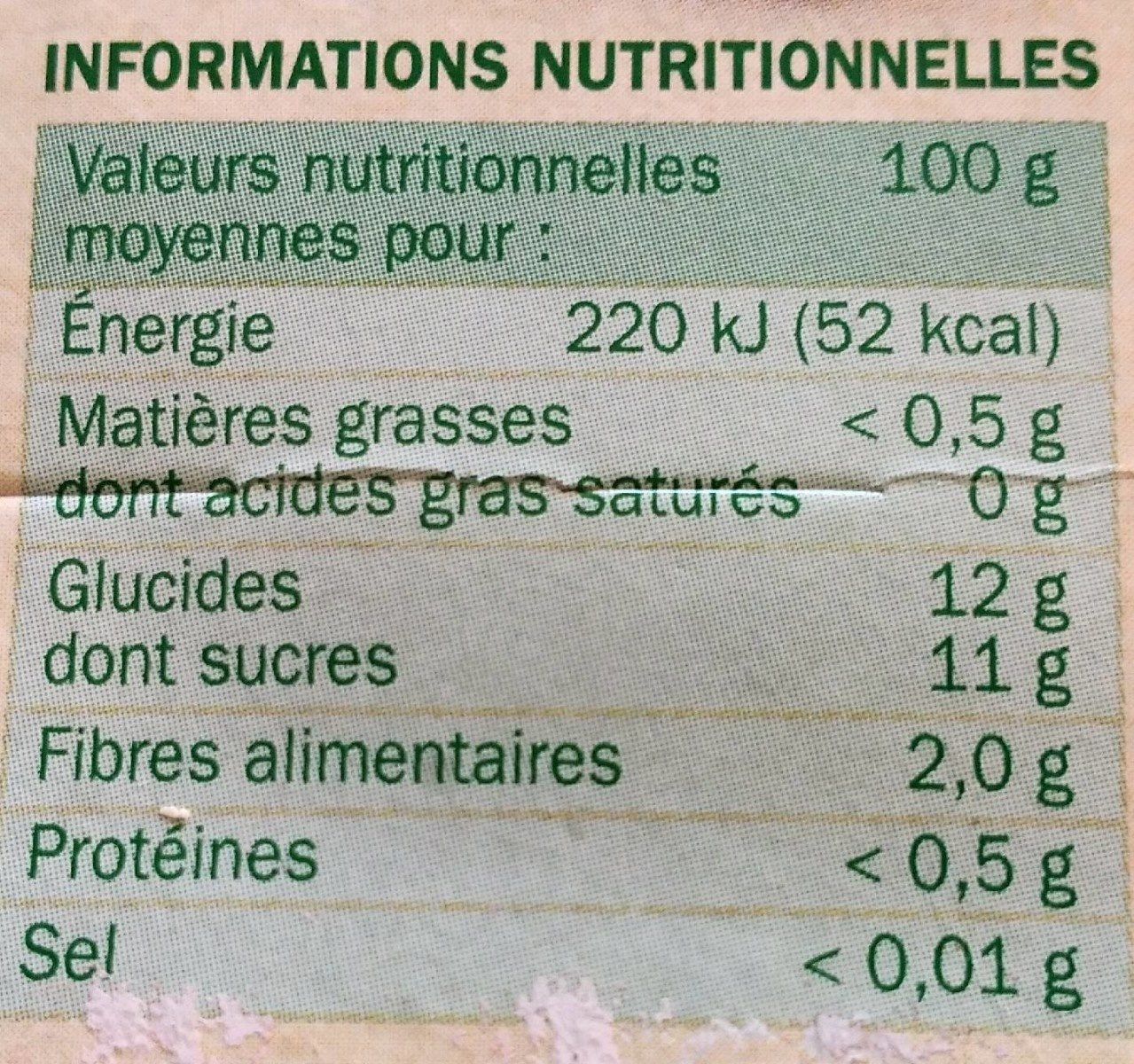 Compote pomme framboise - Nutrition facts