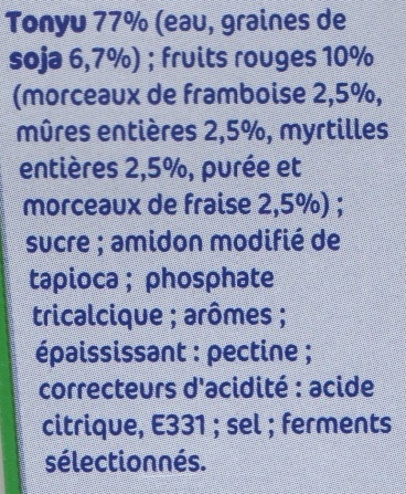 Spécialité au soja fruit rouge - Ingrediënten