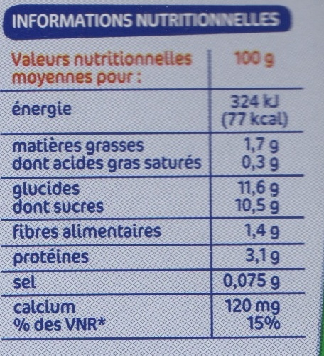 Spécialité au soja fruit rouge - Voedingswaarden