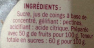 Gelée extra de coing - Ingrédients