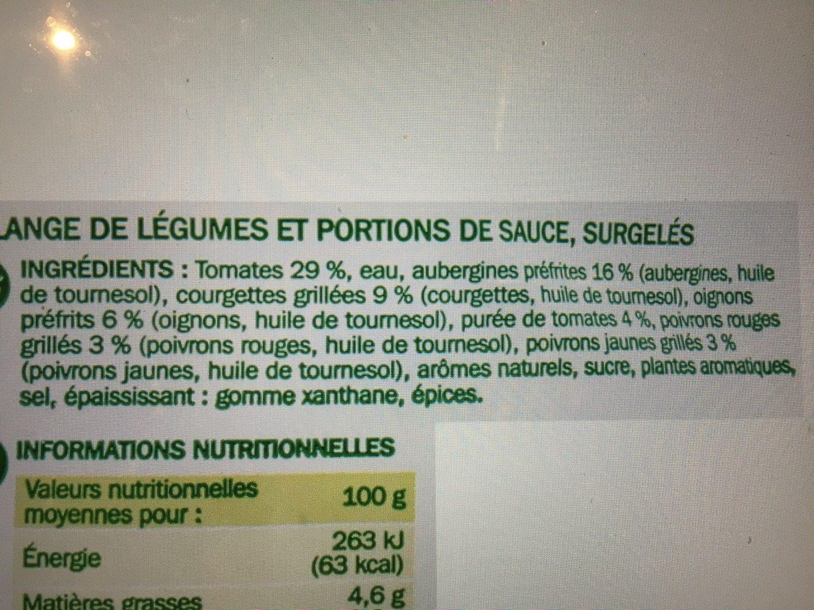 Ratatouille cuisinée portion surgelée - Ingredients