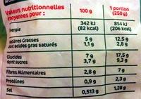Ratatouille cuisinée portion surgelée - Nutrition facts