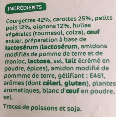 Palets de légumes courgettes / carottes / petits pois / oignons x 8 - Inhaltsstoffe - fr