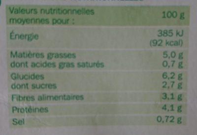 Palets de légumes courgettes / carottes / petits pois / oignons x 8 - Nährwertangaben - fr