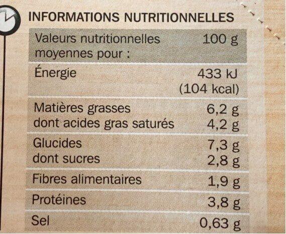 Mini gratins aux 3 légumes x 4 - Informations nutritionnelles - fr