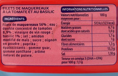 Filets maquereaux tomate/basilic - Nutrition facts - fr