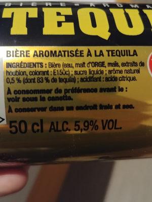 Bière aromatisée Tequila 5,9% vol. - Ingrediënten - fr