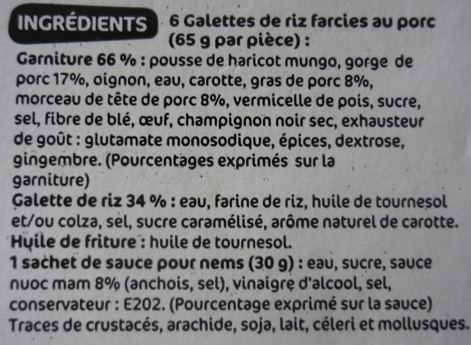 6 Nems au Porc et leur sauce - Ingrédients - fr
