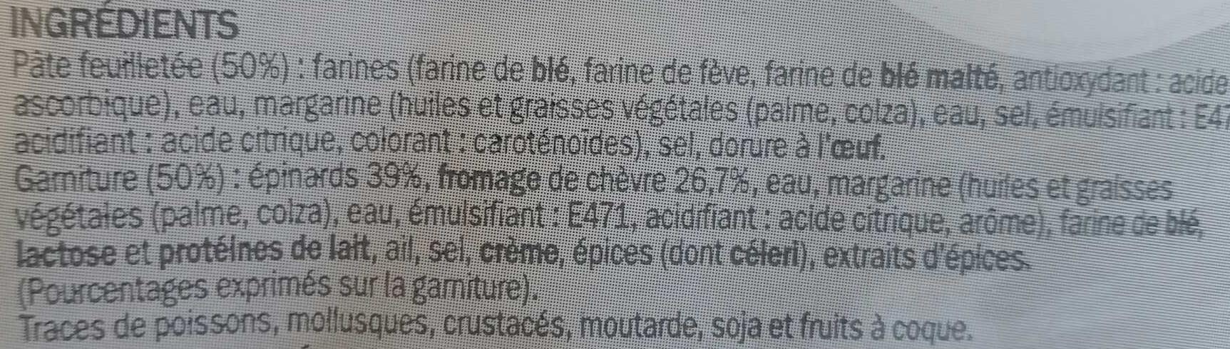 Feuilletés épinards et chèvre - Ingrediënten - fr