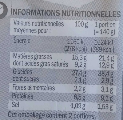 Feuilletés épinards et chèvre - Voedingswaarden - fr