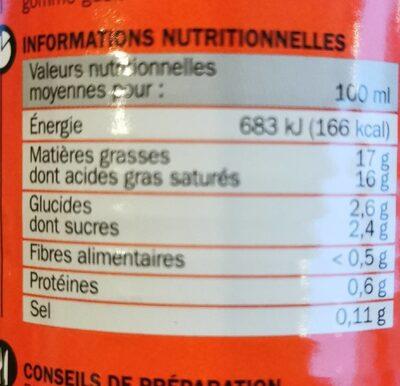 Lait de coco boite 1/2 - Información nutricional - fr