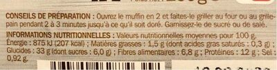Muffins complets x 4 - Informations nutritionnelles - fr