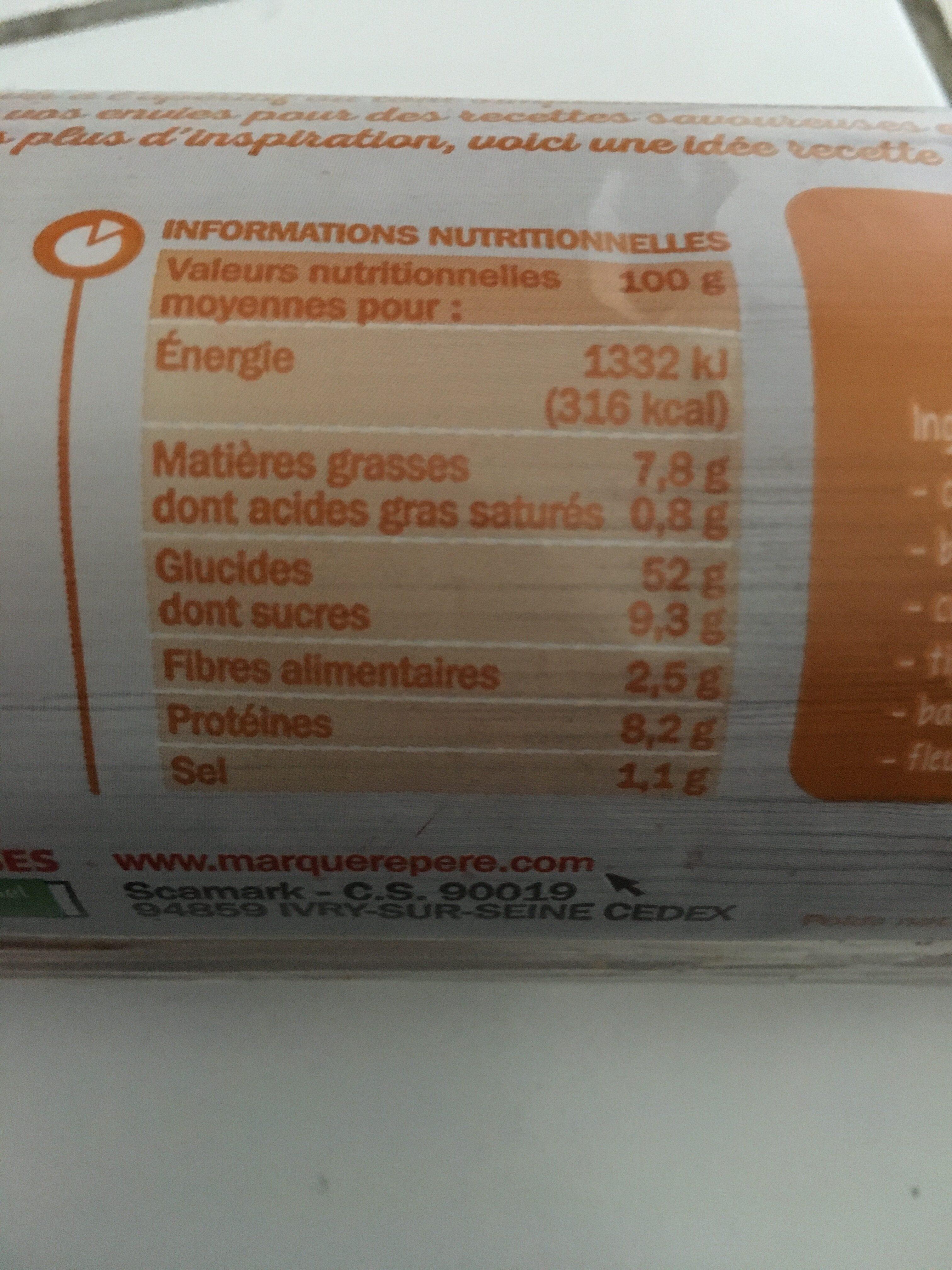Pain de mie canapés brioché 36 tranches - Informations nutritionnelles