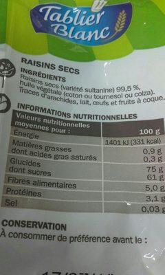 Raisins secs - Ingrédients - fr