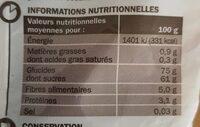 Raisins secs - Informations nutritionnelles - fr