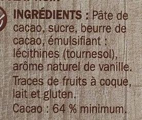 Chocolat dessert pâtissier corsé - Ingrédients - fr