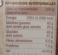 Chocolat dessert pâtissier corsé - Informations nutritionnelles - fr