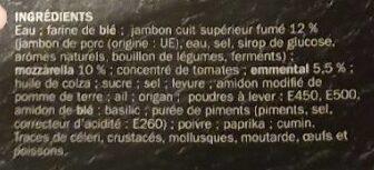 Pizza jambon/fromage cuite sur pierre pâte fine - Ingredienti - fr