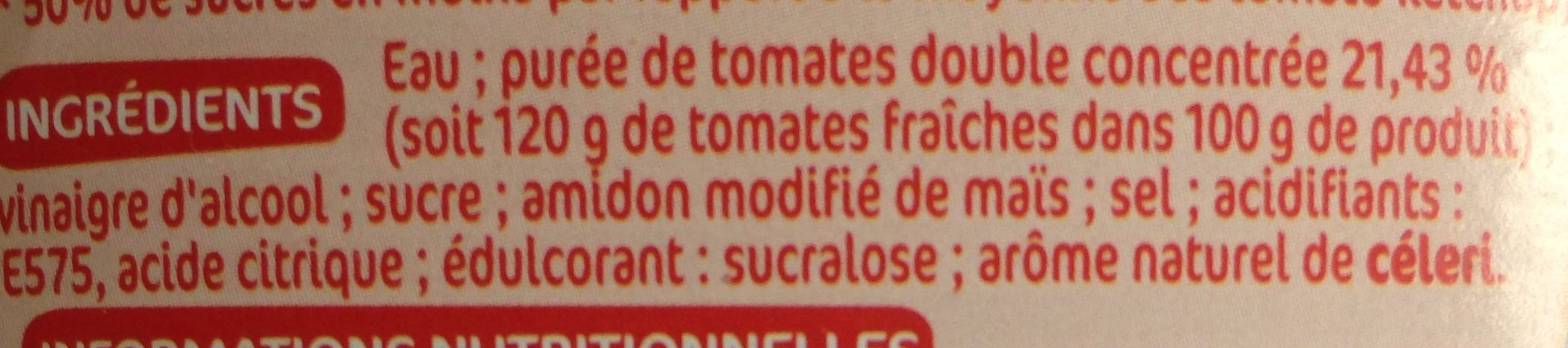 Ketchup allégé en sucres - Ingrédients - fr