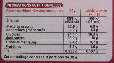 Brownie chocolat et pépites de chocolat - Informations nutritionnelles