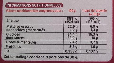 Brownie à partager chocolat pépites de chocolat - Informations nutritionnelles
