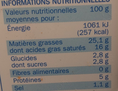 Fromage à tartiner nature 25% - Nutrition facts - fr