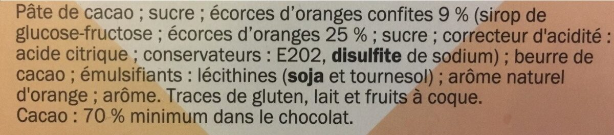 Chocolat noir écorces d'oranges - Ingrédients - fr