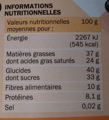 Chocolat noir écorces d'oranges - Informations nutritionnelles - fr