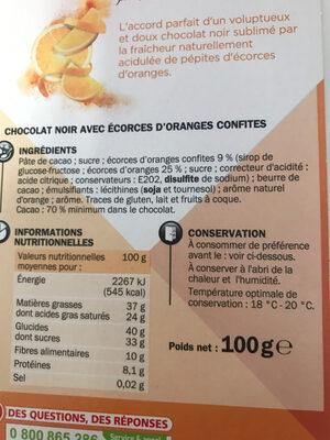 Noir & écorces d'orange - Ingredients