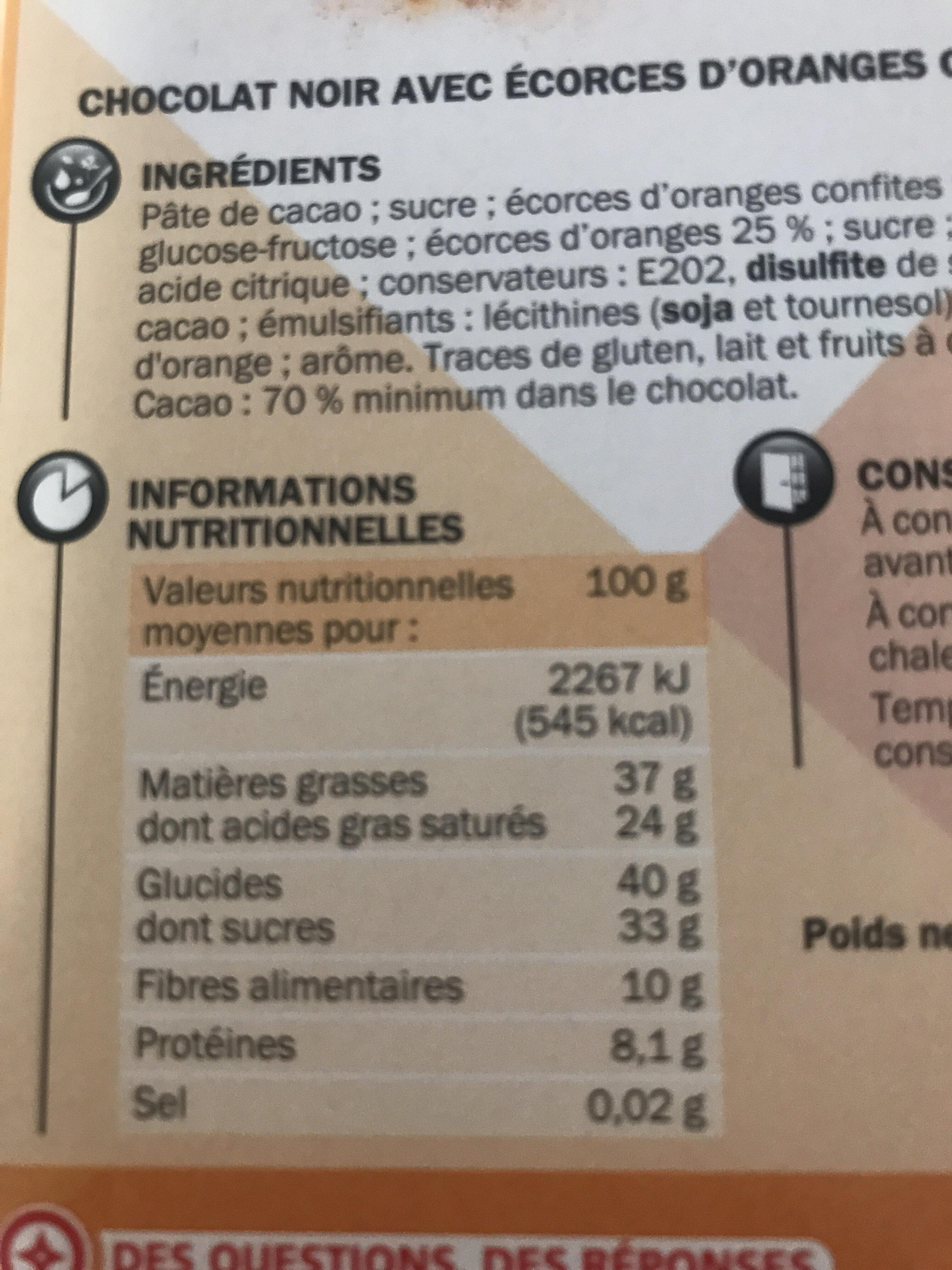 Noir & écorces d'orange - Nutrition facts