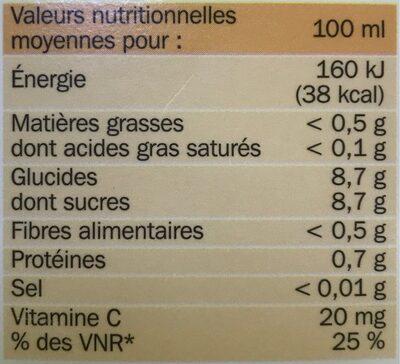 Pur jus d'orange de Floride réfrigéré - brique - Informations nutritionnelles - fr