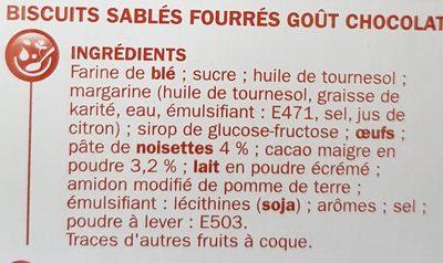 Sablés natures fourrés noisettes/cacao - Ingrediënten