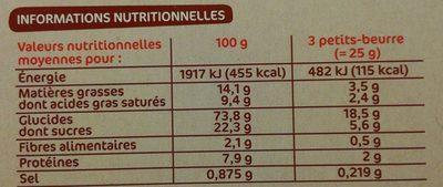Petit beurre pocket - Nutrition facts - fr
