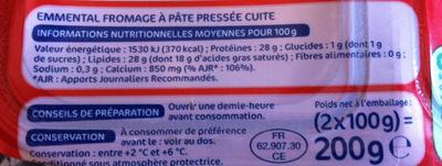Emmental en dés spécial salade (28 % MG) - Nutrition facts - fr