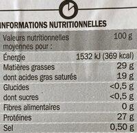 Emmental tranchettes - Informations nutritionnelles - fr