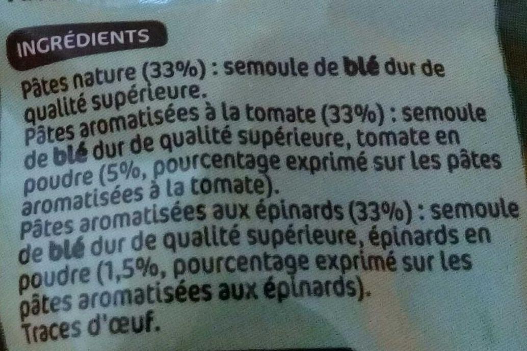 Torsades tricolores (natures, tomates, épinards) - Ingrédients - fr