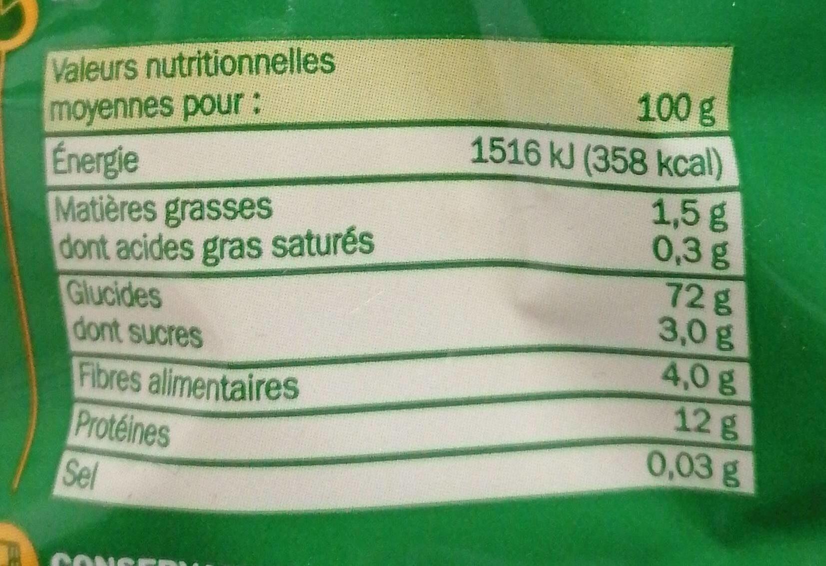Torsades tricolores (natures, tomates, épinards) - Informations nutritionnelles - fr