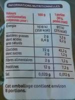 Torsades Nature, Tomate et Epinards - Informations nutritionnelles