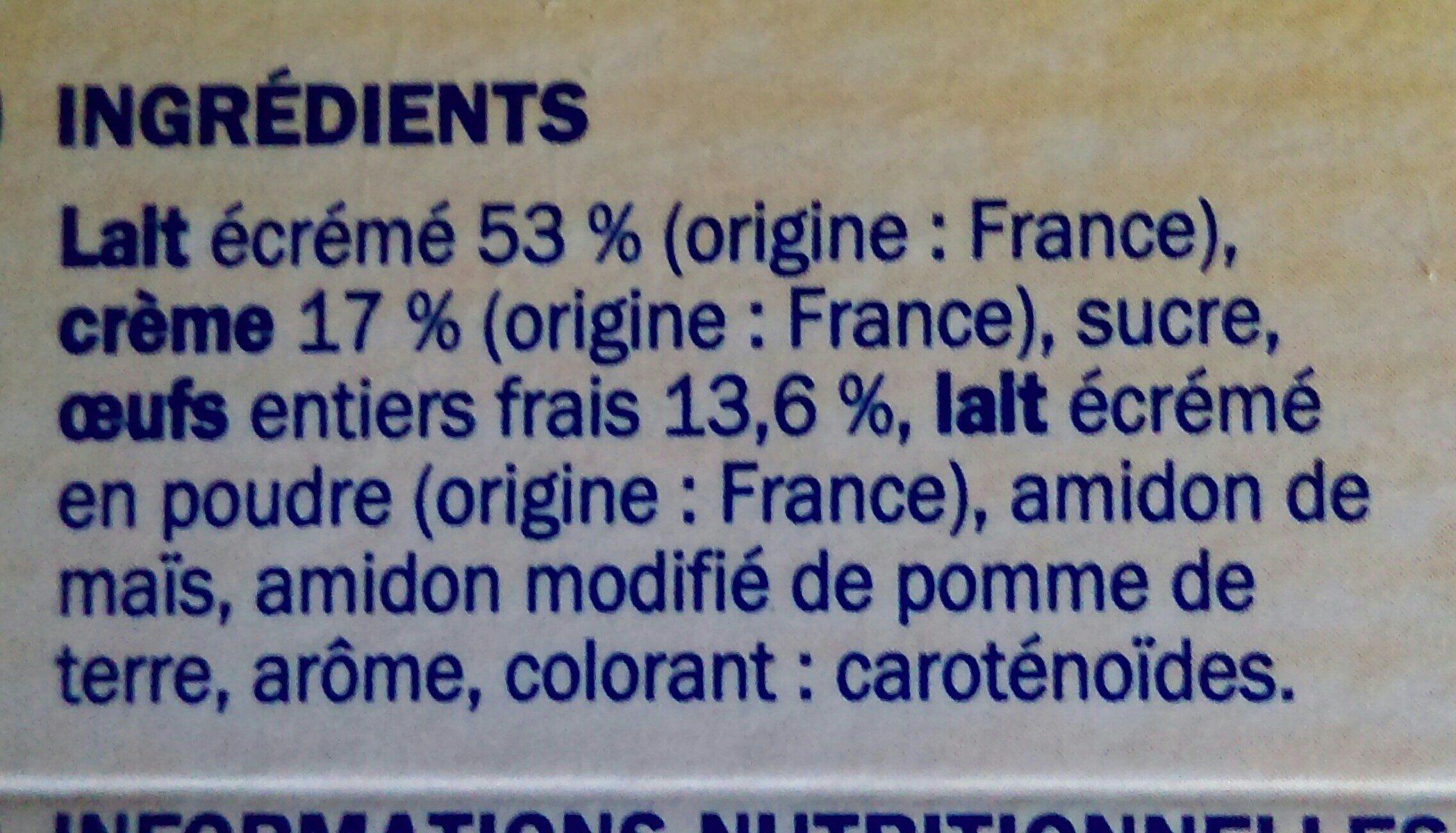 Crème oeufs vanille - Ingrédients