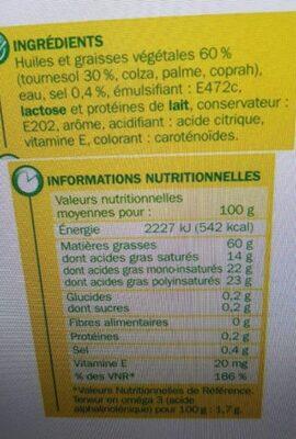 Margarine allégée au tournesol 60% Mat. Gr. - barquette - Voedingswaarden - fr