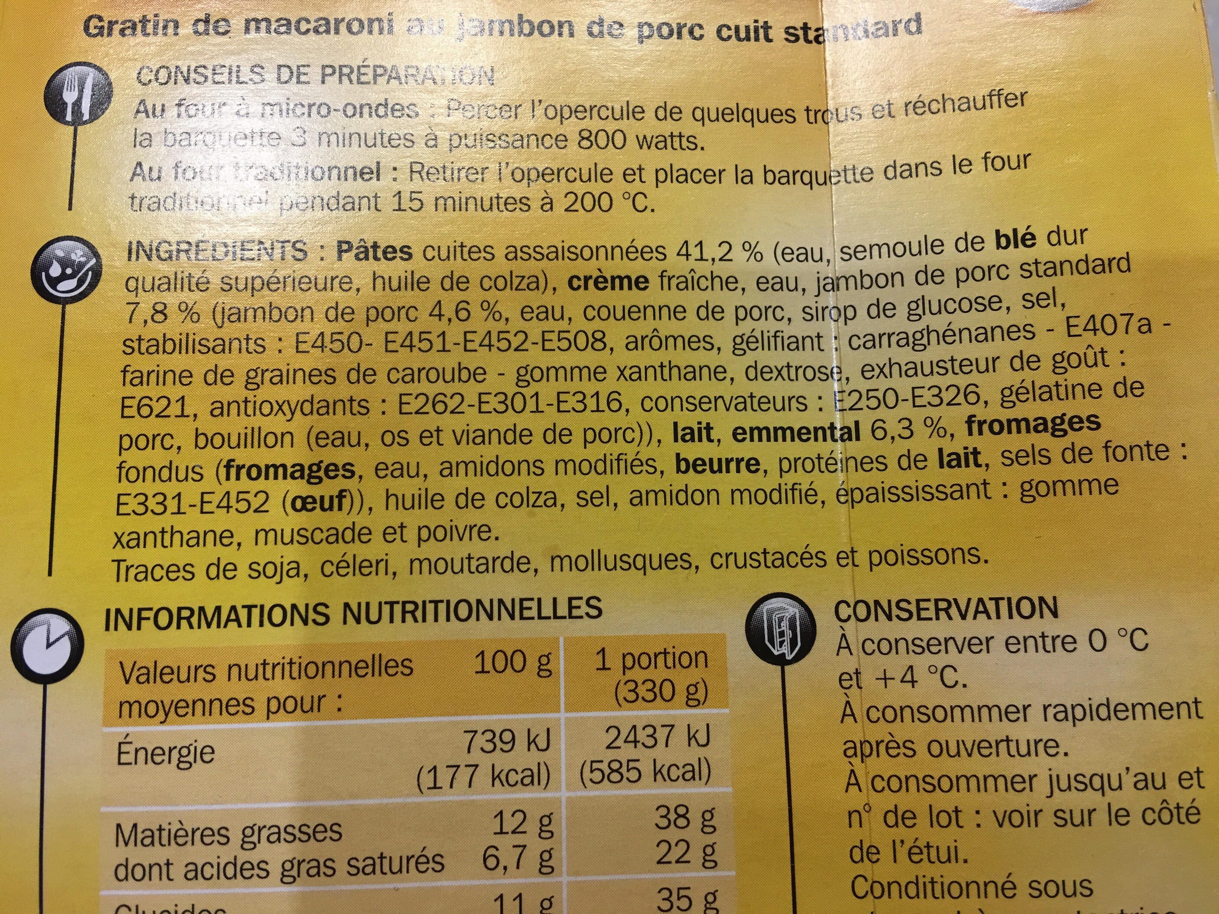 Gratin de macaroni au jambon - Ingrédients