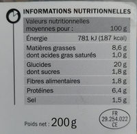 Accras de morue - Informations nutritionnelles